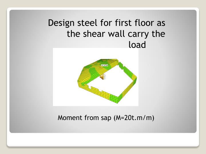 Design steel for first floor as the shear wall carry the load