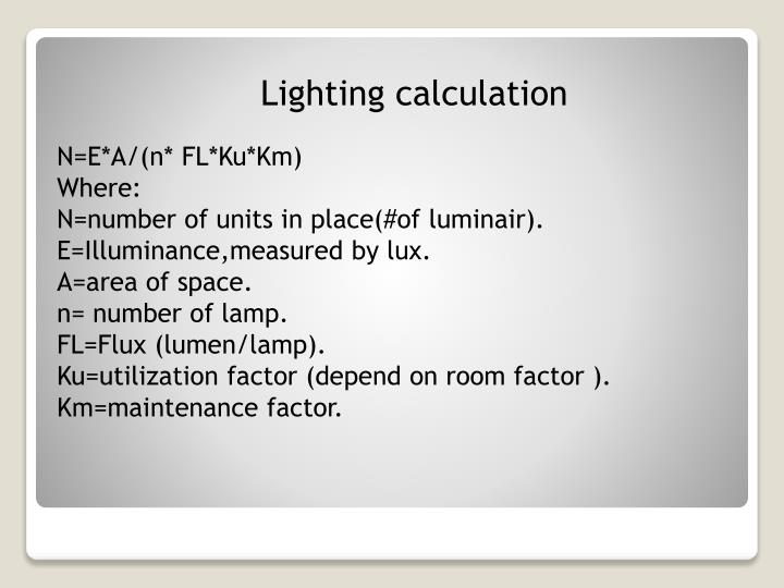 Lighting calculation