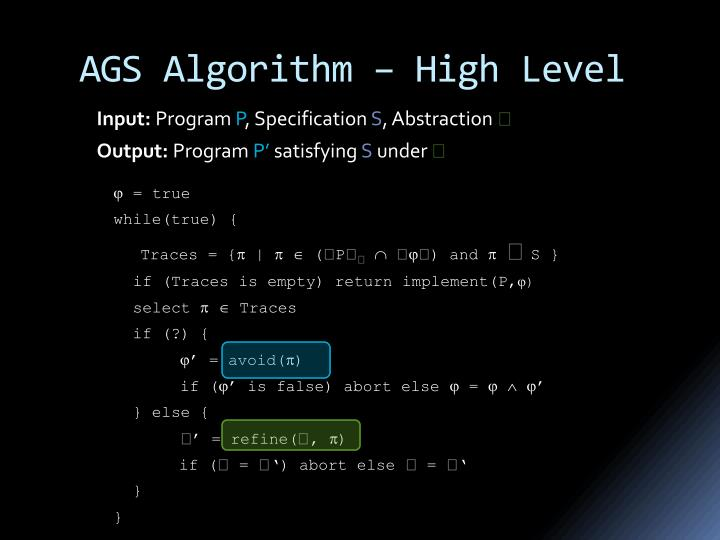 AGS Algorithm – High Level