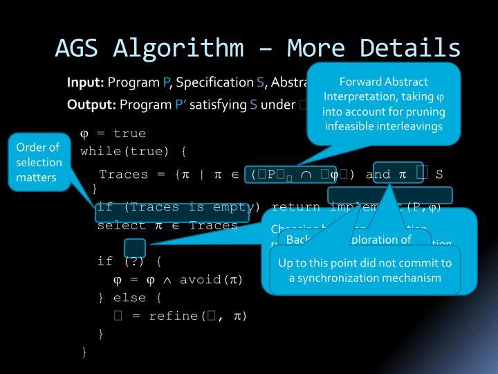 AGS Algorithm – More Details