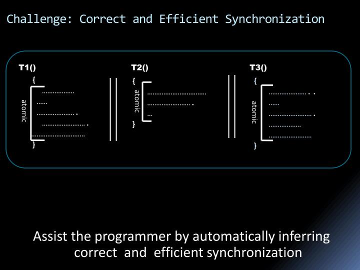 Challenge correct and efficient synchronization