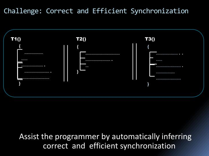 Challenge correct and efficient synchronization1