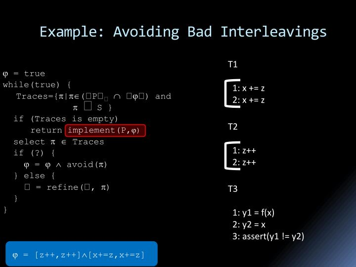 Example: Avoiding Bad Interleavings