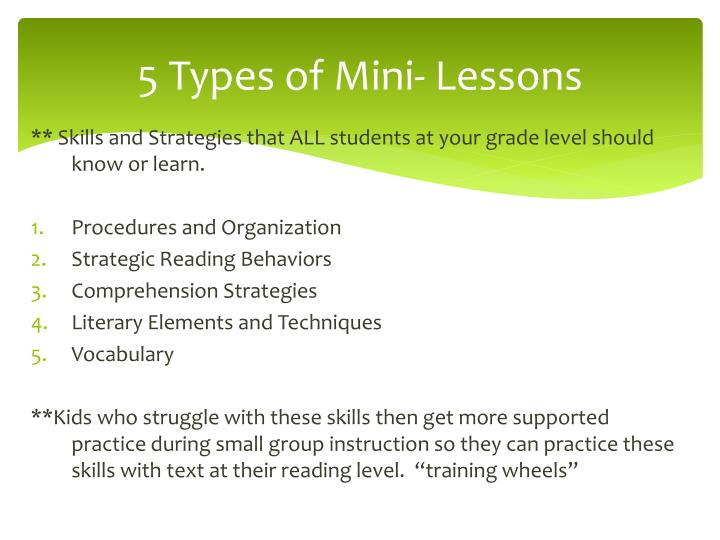 5 Types of Mini- Lessons