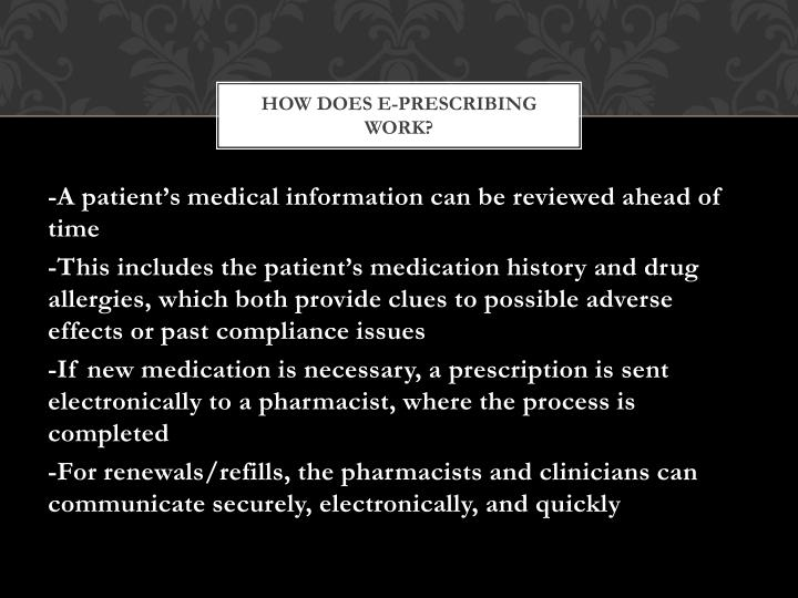 how does e prescribing work
