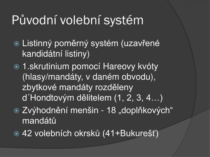 Původní volební systém