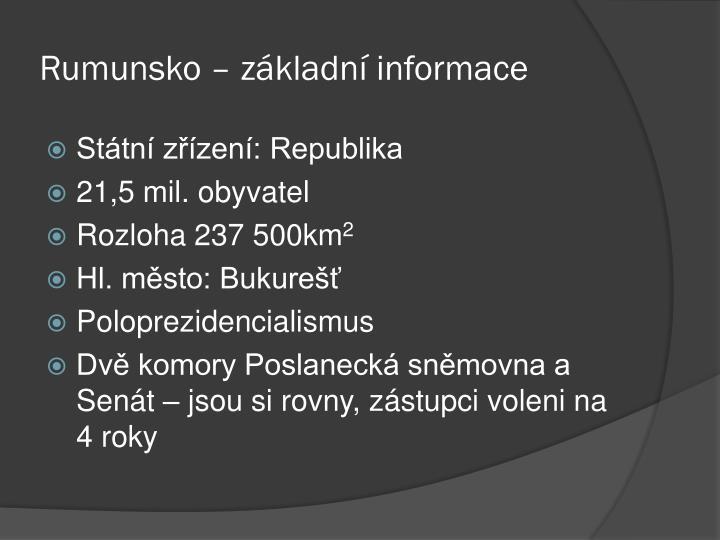 Rumunsko – základní informace