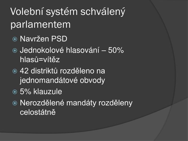 Volební systém schválený parlamentem