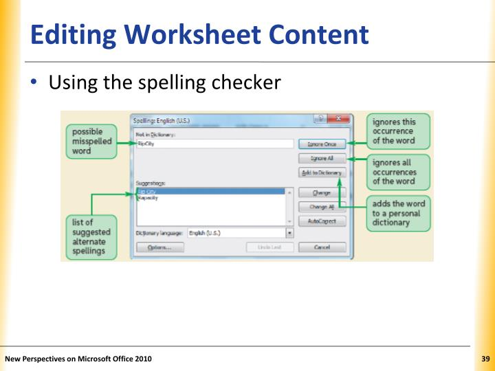 Editing Worksheet Content
