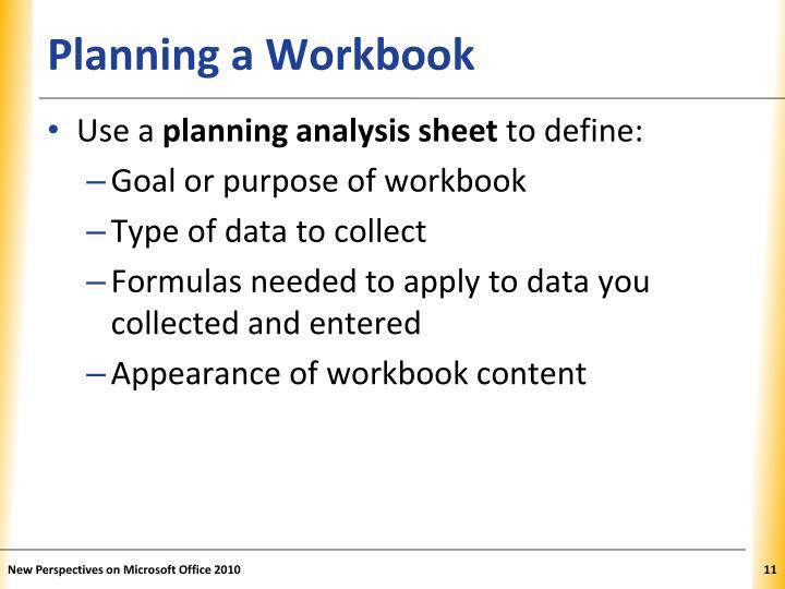 Planning a Workbook
