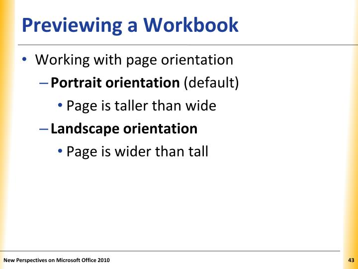 Previewing a Workbook