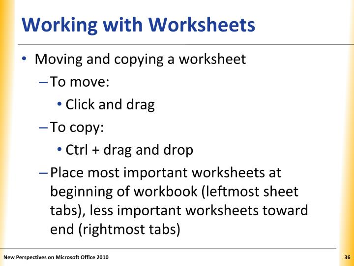 Working with Worksheets