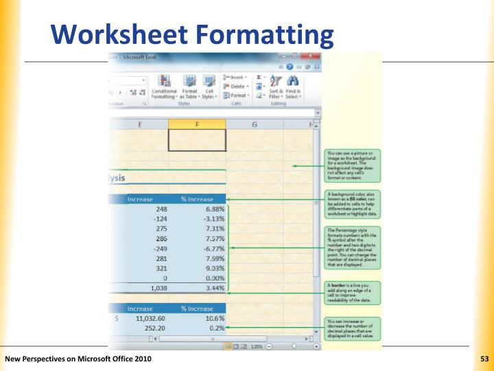 Worksheet Formatting