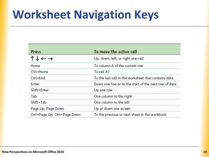 Worksheet Navigation Keys