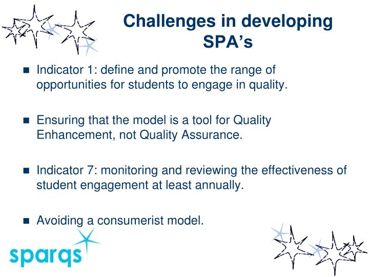 Challenges in developing SPA's