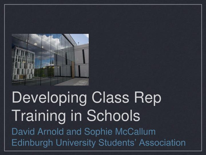 Developing class rep training in schools