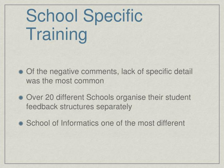 School Specific Training