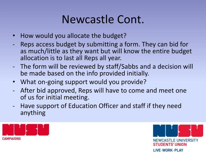 Newcastle Cont.