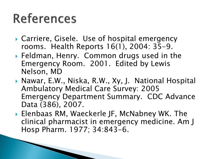 Use Of Emergency Rooms Ambulatory Care