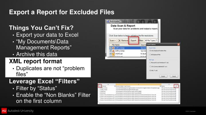 Export a Report for Excluded Files