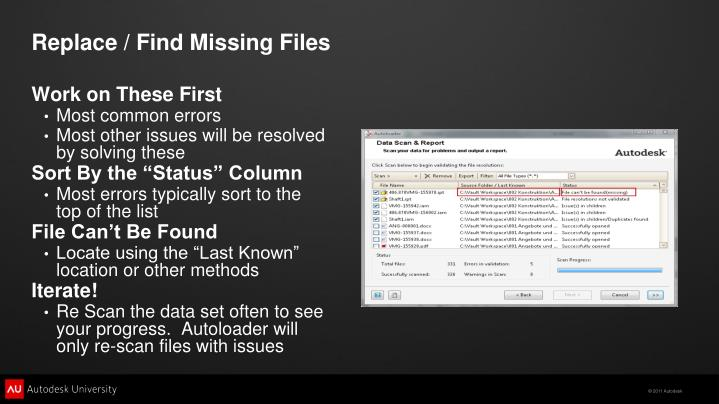 Replace / Find Missing Files