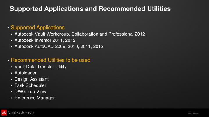 Supported Applications and Recommended Utilities