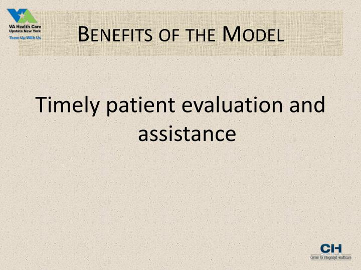 Benefits of the Model