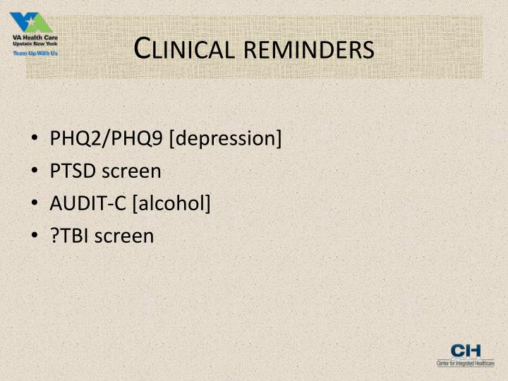 Clinical reminders