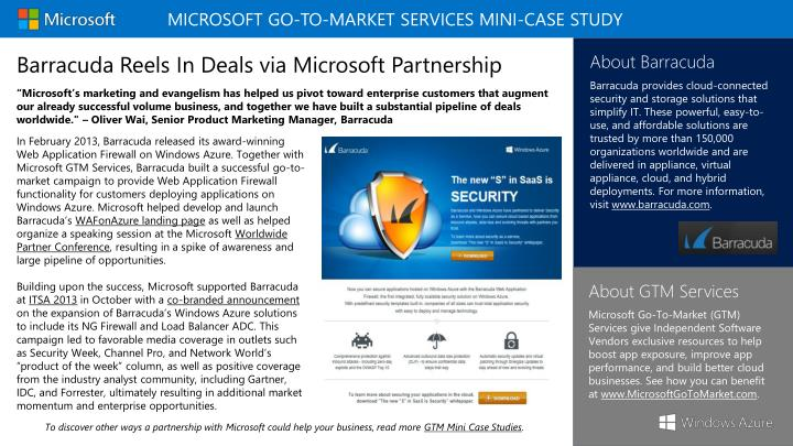 MICROSOFT Go-To-Market SERVICES MINI-Case Study