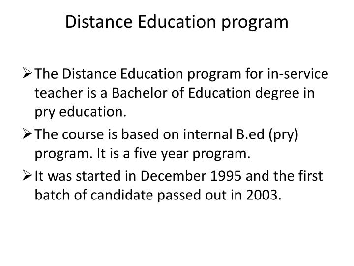 Distance education program