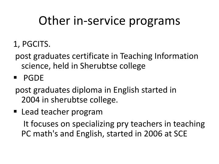 Other in-service programs