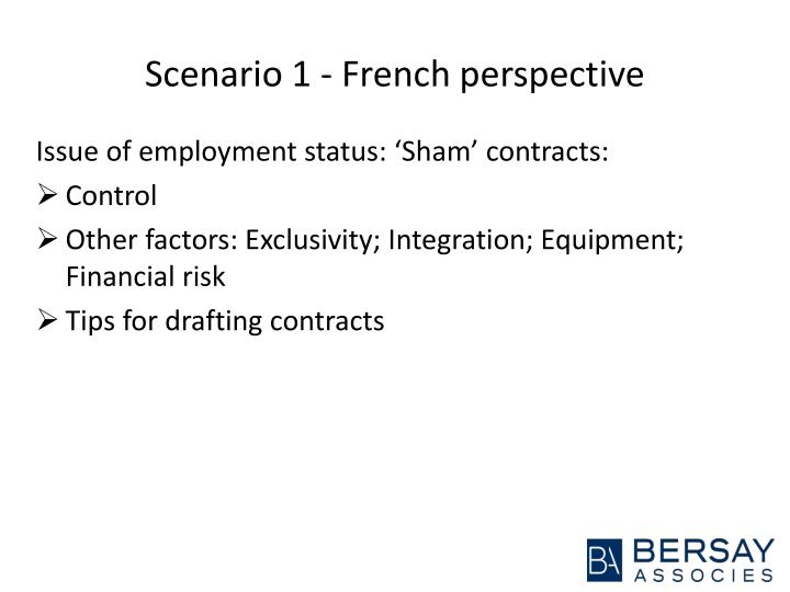 Scenario 1 - French perspective