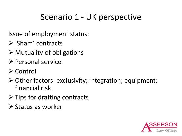 Scenario 1 - UK perspective