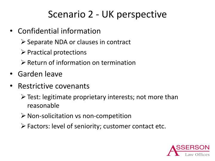 Scenario 2 - UK perspective