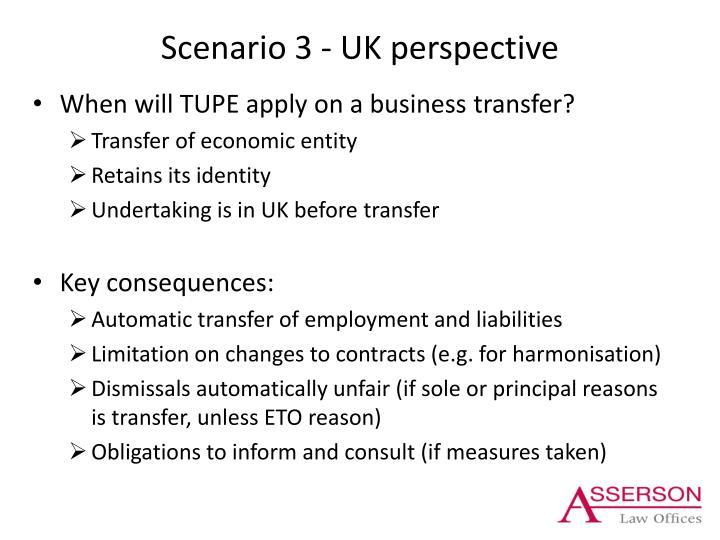 Scenario 3 - UK perspective