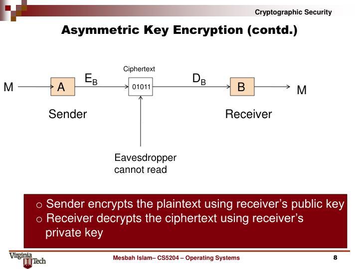 Asymmetric Key Encryption (contd.)