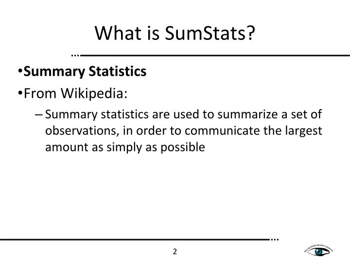 What is sumstats