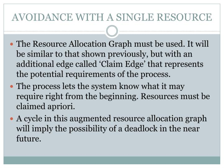 AVOIDANCE WITH A SINGLE RESOURCE