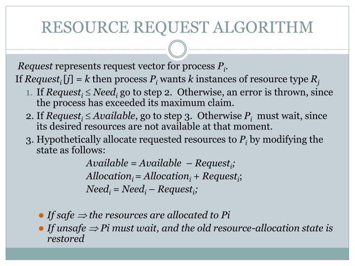 RESOURCE REQUEST ALGORITHM