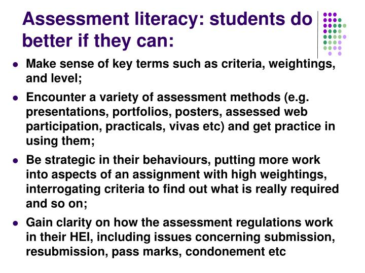 Assessment literacy: students do better if they can: