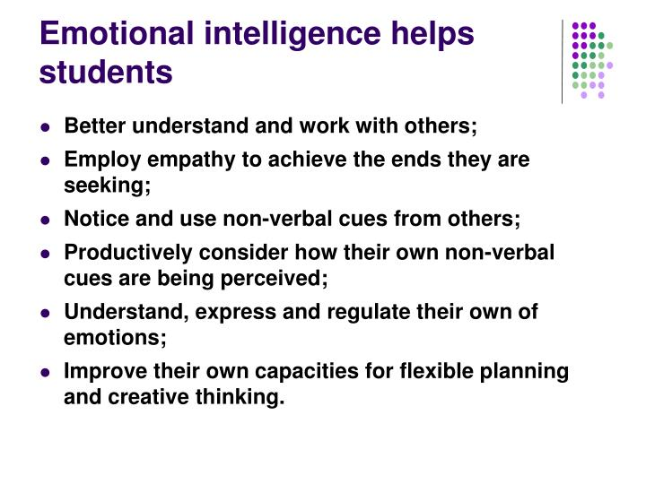 Emotional intelligence helps students