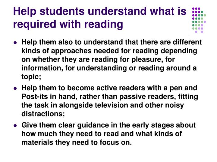 Help students understand what is required with reading
