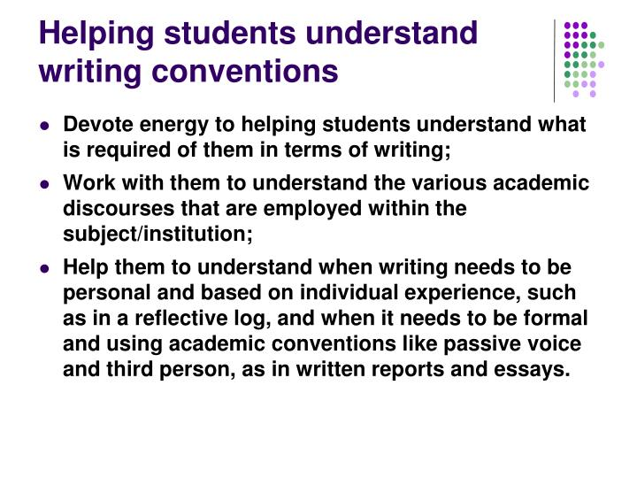 Helping students understand writing conventions