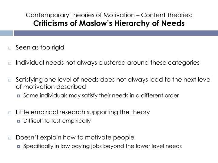 Contemporary Theories of Motivation – Content Theories: