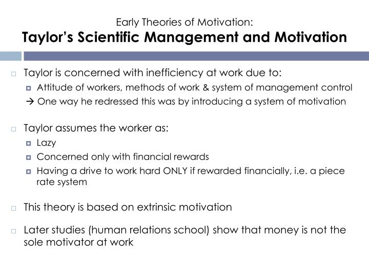 Early Theories of Motivation:
