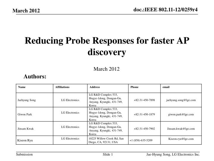 Reducing probe responses for faster ap discovery