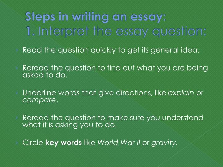 explain the steps to write an essay