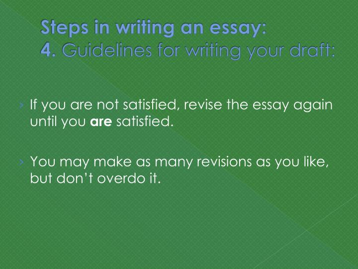 steps in essay writing There are numerous forms of writing that we face everyday the following is an explanation of the process of writing in a simple and understandable way an essay can have many purposes, but the basic structure is basically the same you may be writing an essay to argue for a particular point of view or to explain the steps.