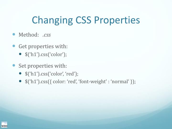 Changing CSS Properties