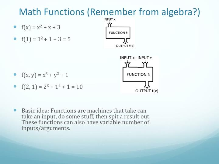 Math Functions (Remember from algebra?)